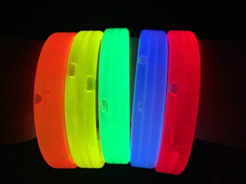 "Cheapest Party Supplies (Glow Sticks Bulk Wholesale Wristbands, 25 9"" Triple-wide Glow Bracelets, Assorted Bright Colors, Glow 8-12 Hrs, 25 Connectors Included, Glow Party Favors Supplies, Sturdy Packaging, GlowWithUs Brand)"