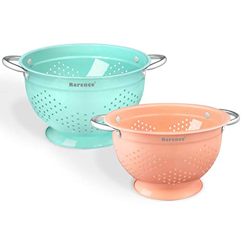 Rorence Colanders with Riveted Handles: Stainless Steel with Coral & Mint Green Color Powder Coating Set of 2