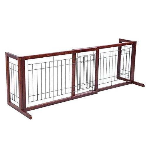 Wood Dog Gate Pet Fence Playpen Adjustable Indoor Free Stand Safety Solid Barrier Wooden Construction Wide Freestanding Extra Walk Folding Panel