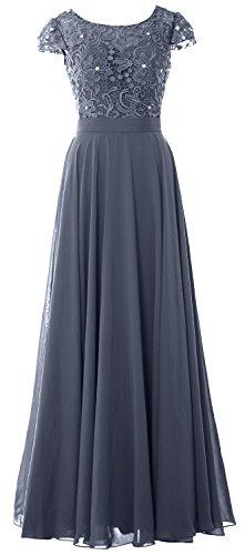 con elegante donna abito Acciaio maniche pizzo con da da Blu sera lungo aletta ad Macloth HwWXnq1fxq