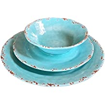 Il Mulino Designer 12 Piece Heavy Weight Durable Melamine Dinnerware Set for 4 (Turquoise Water)