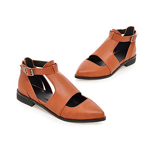 Toe Solid Material Pointed Soft Shoes Yellow Buckle Closed Women's Pumps Low WeenFashion Heels U1TBzq