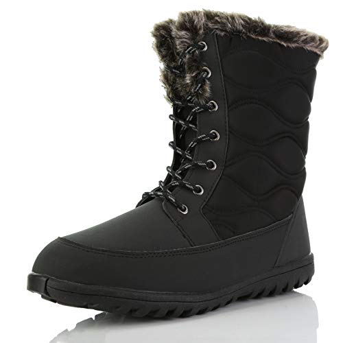Women's DailyShoes Comfortable Round Toe Flat Ankle High Eskimo Winter Fur Snow Boots, 8.5, Black