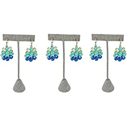 Caddy Bay Collection 3X Grey Linen Jewelry Earrings T Stand Display 6.75""