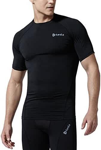 CLSL TM-R13-BLKZ_2X-Large j-RHT Tesla Men's Cool Dry Compression Baselayer Short SleeveT Shirts R13