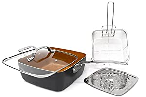 Gotham Steel Titanium Ceramic 9.5 Deep square frying & Cooking Pan With Lid, Frying Basket,Steamer Tray 3-Pack