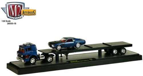 Foose Ford Mustang - New 1:64 Auto-Haulers Foose Collectibles RELEASE 18 - 1970 Ford C-600 and 1970 Ford Mustang Foose Gambler 514 - Foose Coastal Blue Diecast Model Car By M2 Machines