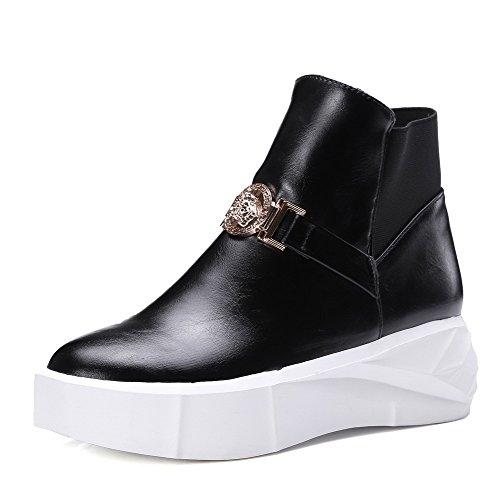 AalarDom Women's Solid Kitten Heels Round Closed Toe Pu Pull On Boots