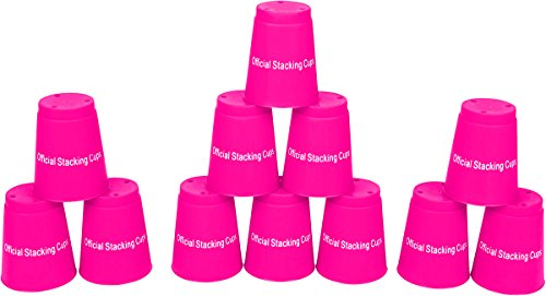 Quick Stack Cups - Speed Training Sports Stacking Cups - Set of 12 by Trademark Innovations (Pink)