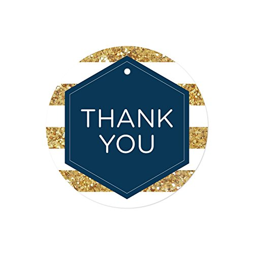 Hexagon Gift Pack - Andaz Press Round Circle Gift Tags, Navy Blue Hexagon White Stripes Faux Gold Glitter, Thank You, 24-Pack, Colored Party Favors and Decorations