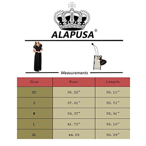 Alapusa Maxi Robe À Manches Courtes Croisillons Femmes Avec Des Poches Noires