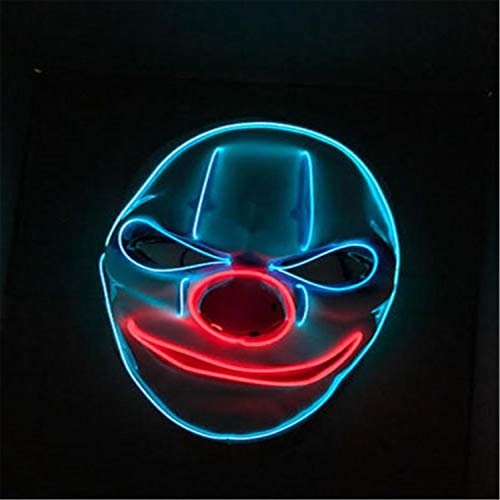 Protection Double Wire Face Mask - Double-H-W Halloween Mask Clown LED Mask- Scary EL Wire Light up Masks Club Party Costume