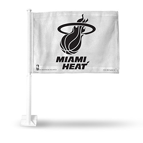 Rico NBA Miami Heat Car Flag, White, with White Pole by Rico