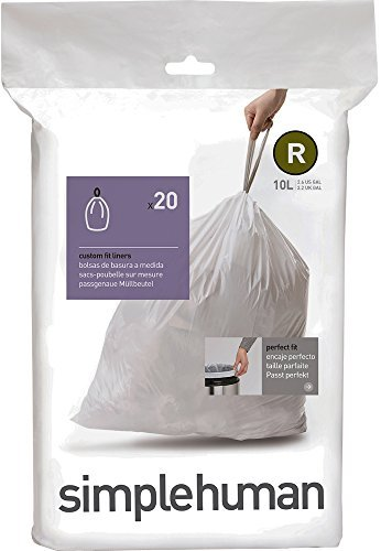 simplehuman code R custom fit liners, 1 refill pack (20 liners), 10 L / 2.6 Gal by simplehuman …