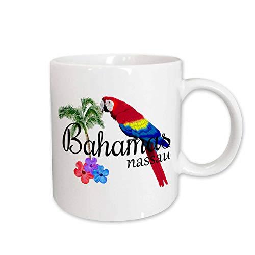 3dRose MacDonald Creative Studios – Islands - Bahamas Nassau Caribbean souvenir with tropical parrot and flowers. - 11oz Mug (mug_299249_1)