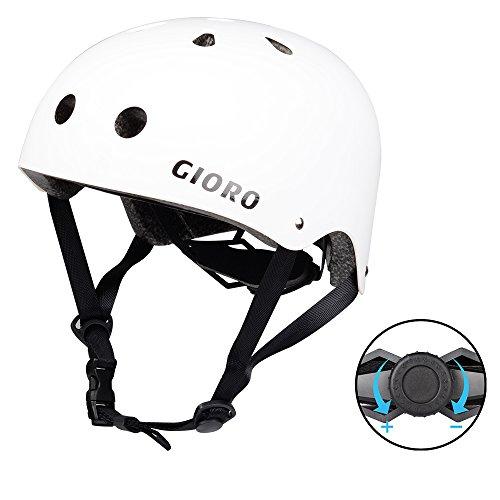 Bmx Bicycle Helmets (GIORO Skateboard Helmet Impact Resistance Safe Helmet with Ventilation Multi Sport for BMX Bike Skate& Scooter,Dual Certified CPSC Adult &Kids Adjustable Dial Helmet-Multiple Colors&Sizes (White, S))