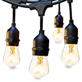 48 FT Outdoor String Lights Commercial Great Weatherproof Strand 18 Dimmable Edison Vintage Bulbs 15 Hanging Sockets, UL Listed Heavy-Duty Decorative Café Patio Lights for Bistro Garden Wedding Malls