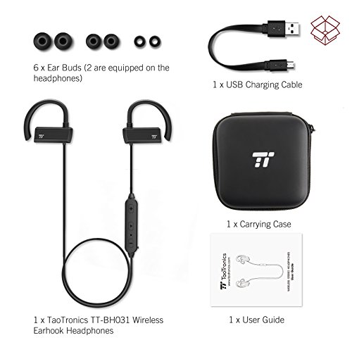 Large Product Image of TaoTronics Bluetooth Headphones, Wireless in Ear Earbuds, Sports Earphones with 360° Adjustable Earhooks (15 Hour Playtime, aptX Lossless Sound and CVC 6.0 Noise Cancelling Mic,IPX5 Sweat Proof)