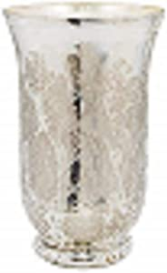 """Serene Spaces Living Antique Silver Etched Hurricane – Handmade, Vintage-Inspired Mercury Glass Vase Adds Elegance to Any Space - Use for Home Décor, Event Centerpieces and Much More, 9"""" H x 6"""" D"""
