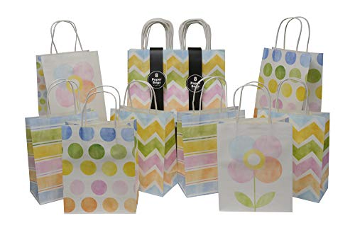 Assorted Bright Color Paper Gift Bags for All Occasions, Pretty Pastel Colors in Chevron, Stripes, dots and Flowers, Medium, Set of 16 Bags, 8