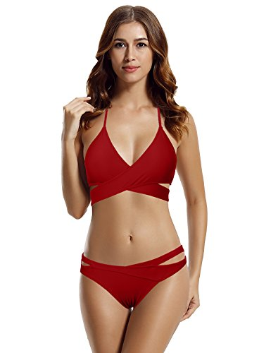 zeraca Women's Sexy Brazilian Cutout Bottoms Wrap Bikini Bathing Suits (M10, Dark Red) (Cutout Bikini Bottoms)