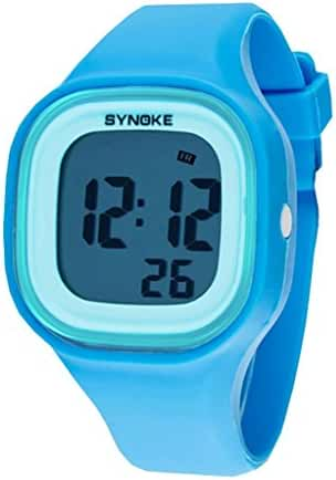 Boys Girls Colorful Night Light Water-proof Jelly Resin Wrist Watches Blue