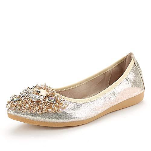 FLYRCX La Moda Casual señaló los Zapatos Planos cómodos de la Parte Inferior Suave Solos Zapatos de Las Mujeres Embarazadas Que doblan los Zapatos de Ballet, 35 EU 36 EU