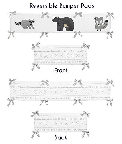 (Sweet Jojo Designs Grey and White Boho Animal Unisex Boy or Girl Baby Nursery Crib Bumper Pad for Gray Woodland Forest Friends Collection - Deer Fox Bear)