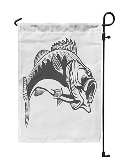 HerysTa Spring Garden Flag, Decorative Yard Farmhouse Holiday Banner 12 x 18 inches Fishing Logo Bass Fish Rod Club Emblem Theme Isolated White Double-Sided Seasonal Garden Flags -