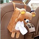 Cartoon Animals Car Tissue Pumping Bag Plush Paper Box Card Storage ,Creative Plush+Polyester Tissue Box Cover Holder (Bear)