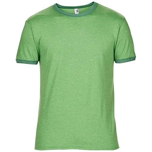 Anvil Mens Plain Lightweight Ringer T-Shirt (M) (Heather Green/Kelly Green)