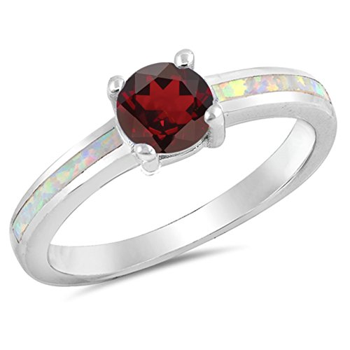 925 Sterling Silver Faceted Natural Genuine Red Ruby Round Ring Size 8