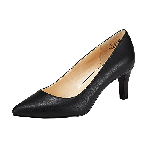Pump Ladies Women (JENN ARDOR Women's High Heels Ladies Pointed Toe Slip On Mid Heel Dress Party Pumps Black 7 (9.4in))