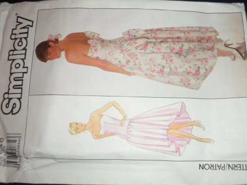 Simplicity 9011 Sewing Pattern for Misses Drop Waist Princess Seamed Bodice Strapless Cocktail Special Occassion Dress with Sshaped Hem and Optional Back Bow Trim.