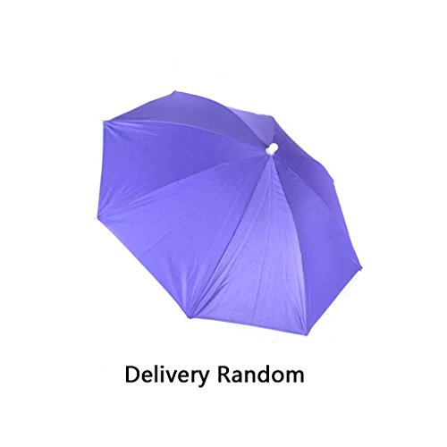 Providethebest Pêche élastique Bandeau Cadre métal mains libres en nylon Chapeau parapluie bleu