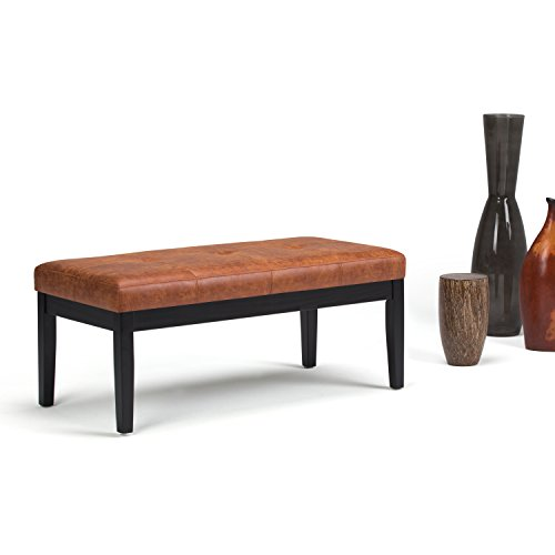 Simpli Home Lacey Tufted Ottoman Bench, Distressed Saddle Brown by Simpli Home (Image #2)