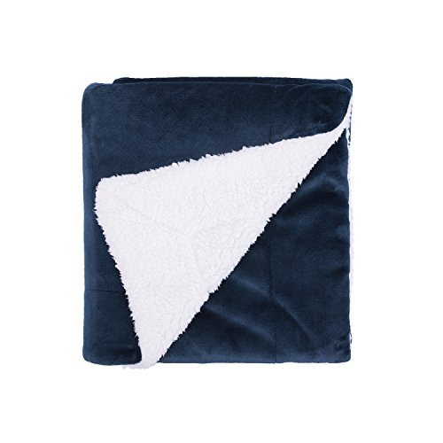"Bedsure Sherpa Throw Blanket Navy Blue Twin Size Reversible Fuzzy Bed Blankets Microfiber All Seasons Luxury Fluffy Blanket for Bed or Couch 60""x80\"" by"