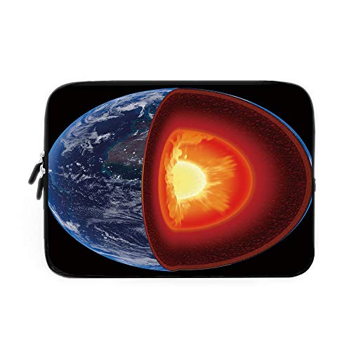 Earth Laptop Sleeve Bag,Neoprene Sleeve Case/Hot Burning Earth Core Structure with Geological Layers Vibrant 3D Style Image Decorative/for Apple MacBook Air Samsung Google Acer HP DELL Lenovo (Best Google Earth Layers)