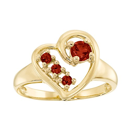 ArtCarved Mom's Gift Simulated Garnet January Birthstone Ring, 10K Yellow Gold, Size (Artcarved Yellow Ring)