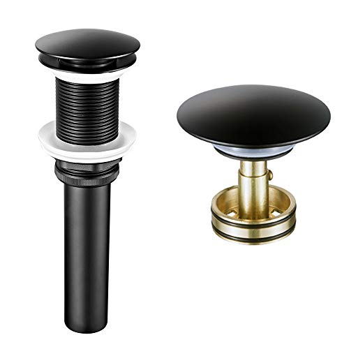 - Shile Black Brass Bathroom Vessel Sink Drain Pop-up Drain With Detachable Basket Stopper Anti-Explosion And Anti-Clogging Drain Strainer without Overflow