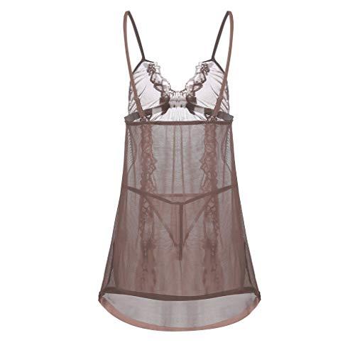 Londony Women Sexy Lingerie Lace Babydoll Nightdress Mesh Chemise Sleepwear Strap Chemise Off Shoulder Sleepwear Coffee