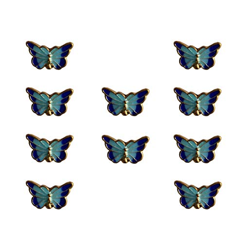 Mystart 10 Pieces 16x10mm Cloisonne Painted Blue Vintage Butterfly Beads Charms DIY Bracelet Necklace Accessories