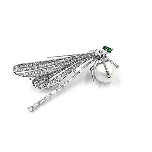 (DREAMLANDSALES Vintage Micro Pave Wing Baguette Cut Tail Green Eyes Profile Dragonfly Brooch Pin with Pearl)