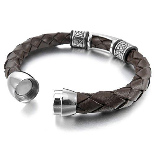 MunkiMix Acier Inoxydable Genuine Leather Cuir Véritable Bracelet Bracelet Menotte Argent Brun Tressé Gothique Magnétique Fermoir Homme