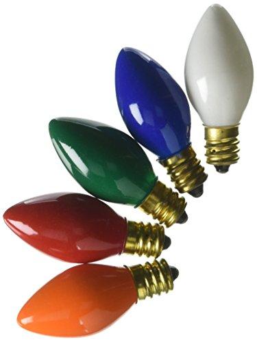 (SHL C7 - Ceramic Multi-Color - 5 Watt - Candelabra Base - Christmas Lights - 25 Pack)