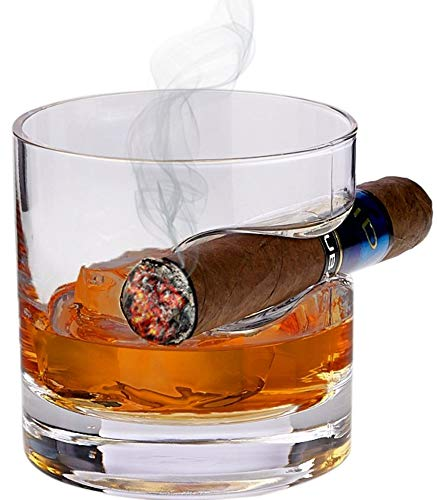 Bezrat Whiskey Glass with Cigar Holder – Double Old Fashioned Glass with Built-In Cigar Rest - 12 Ounce