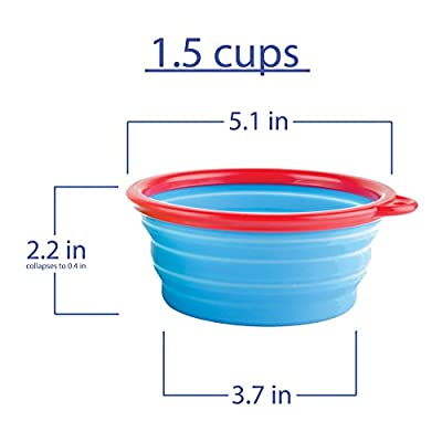 Travel Dog Bowls By Fossa Collapsible Portable Pet Food & Water Bowls I Size 2 X 1,5 Cups