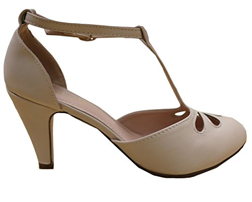 Cambridge Select Donna Teardrop Cut-out T-strap Mary Jane Dress Pump Nude