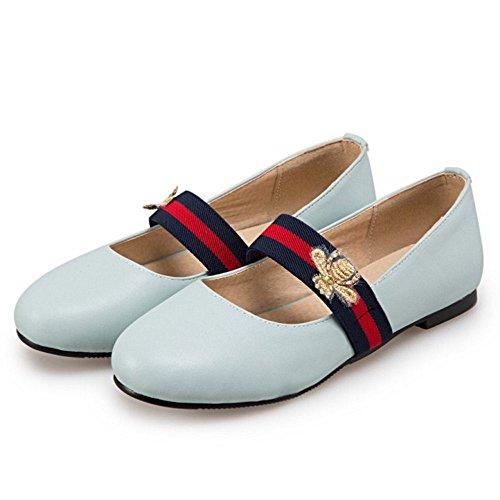 Enfiler Simple Ferme Femme Plat COOLCEPT Chaussures Janes Bleu Escarpins A Rond Mary Bout 8aOdtwtnx