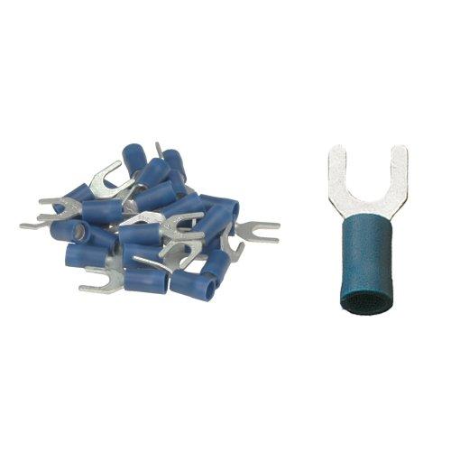 25 isol. Gabelkabelschuhe blau M5 1, 5 bis 2, 5 mm² K24- Gabelschuh